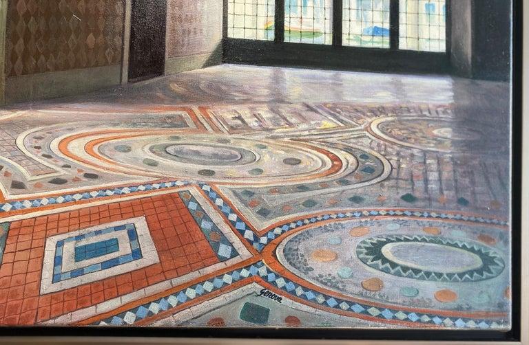 Ca d'Oro, original 28x42 realistic Italian interior landscape For Sale 2
