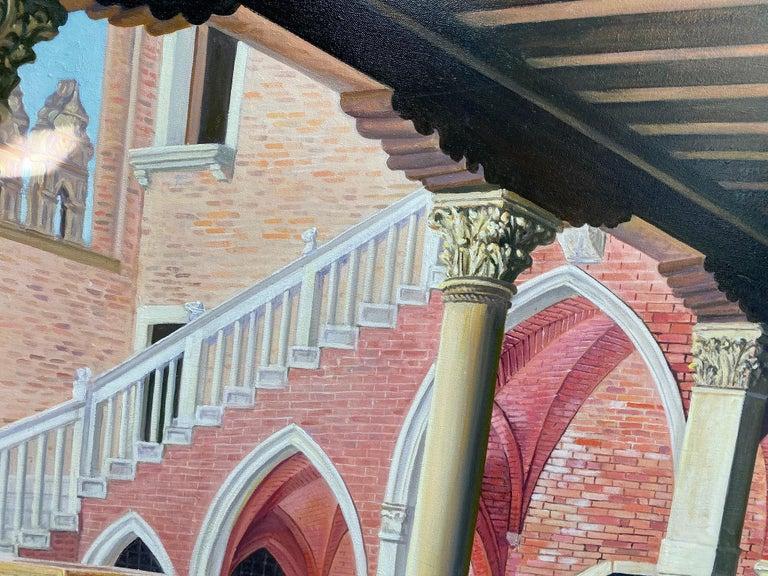 Ca d'Oro, original 28x42 realistic Italian interior landscape - Realist Painting by Joseph Genova