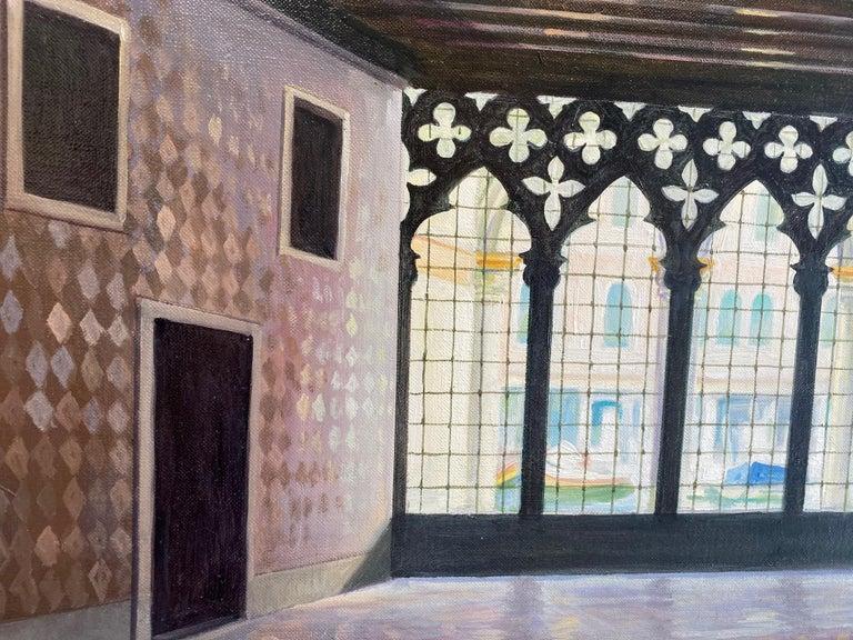 Ca d'Oro, original 28x42 realistic Italian interior landscape - Brown Landscape Painting by Joseph Genova