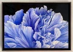 Blue Peony, original 21x29 contemporary photo realist landscape