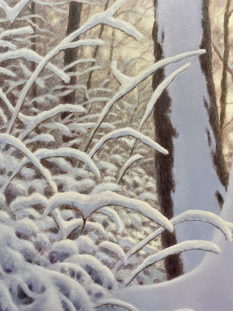 An award winning painting, Winter Woods is a clean and crisp, tender original realistic oil painting by multiple award winning New York Hudson River painter Barry DeBaun.  Feel the freedom of thought and joy as dog and master meander through the
