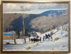 Towards Morristown, original 36x48 historic impressionist landscape