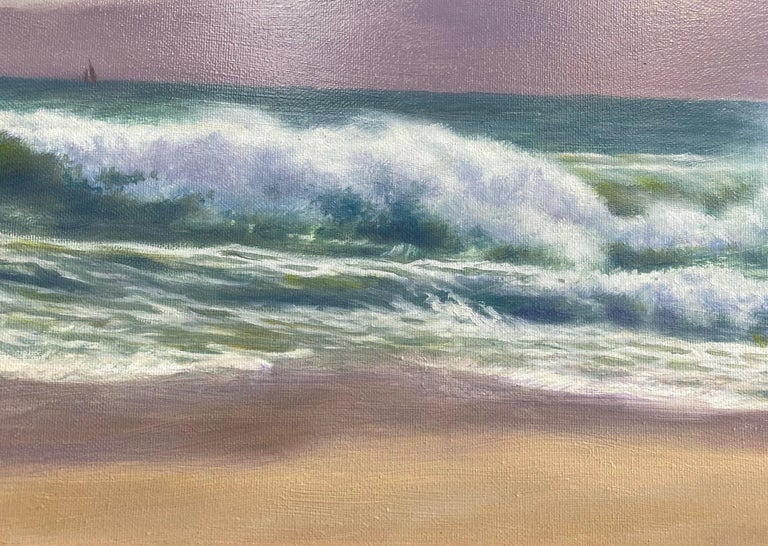 The Breakers, original 18x24 impressionist marine landscape - Impressionist Painting by Barry DeBaun