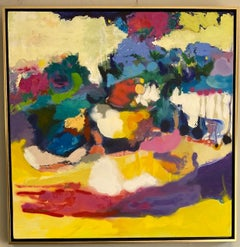 River Walk, original 36x36 abstract expressionist landscape