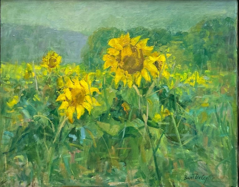 Sunflowers, original 25x62 diptych contemporary impressionist landscape - Painting by Bart DeCeglie