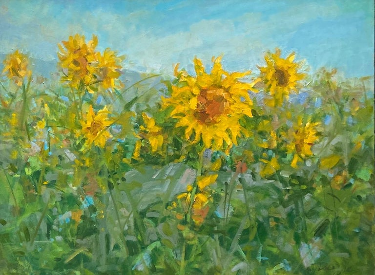 Sunflowers, original 25x62 diptych contemporary impressionist landscape - Impressionist Painting by Bart DeCeglie