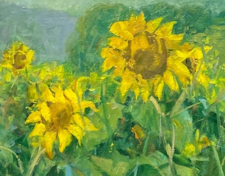 Sunflowers, original 25x62 diptych contemporary impressionist landscape - Gray Still-Life Painting by Bart DeCeglie