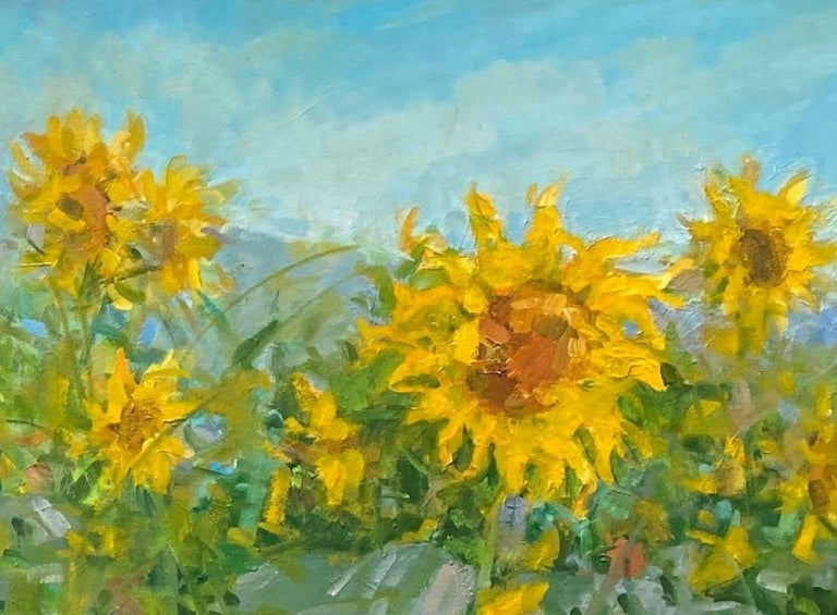 A sentimental favorite flower, sunflowers are transporting,  leaving one feeling revitalized and fresh! This original diptych of two 24x30 contemporary oil paintings to be hing side by side or apart as a pair is ideal for any transitional location,