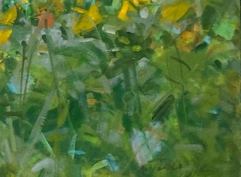 Sunflowers, original 25x62 diptych contemporary impressionist landscape For Sale 2