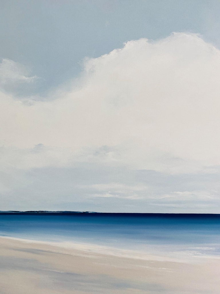 Seascape No. 148-AL is a 48x72 contemporary marine landscape on a bright, crisp day with only the gentlest of movement and a warm breeze. The calm blue waters with brilliant white clouds adjoin at the highly defined horizon line of birds eye blue.