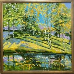 Mingling Birches, original 36x36 expressionist landscape