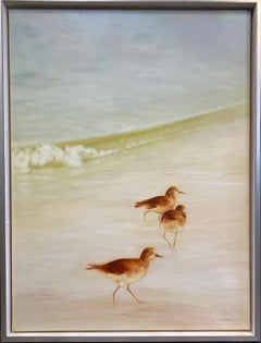 Sandpipers, original 40x30 contemporary marine landscape