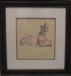 "Leroy Neiman Framed ""Portrait Study of Sphinx"" Original Hand Signed Pen and Ink"