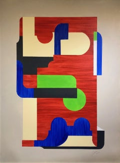 Conundrum by Louis Shields, Geometric Abstract Mixed Media on Canvas, 2014