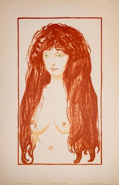 The Sin - Edvard Munch, Lithograph, Abstract, 20th Century, Woman with Red Hair