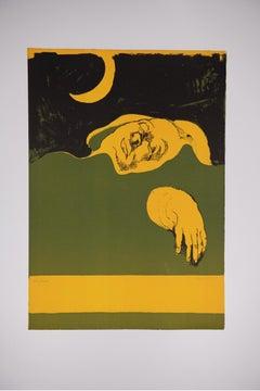 "Luigi Guerrichio - ""Mano Gialla""  - Lithograph Italian Figurative Realism"