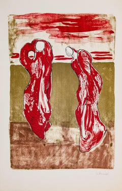 Composition - Max Herold, Color Lithograph, Handmade Paper, Modern, Red