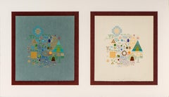 Yves Galgon - Composition of Fine Art on Two Different Coloured Paper, 20th C