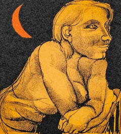 Luigi Guerricchio - Woman with moon - Color lithograph on handmade paper, Print