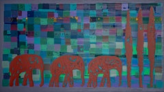 "Elias Slonim - ""Three Elephants"" - Colourful Silkscreen Print"