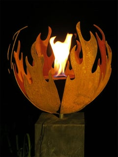 "Outdoor Fire Pit - ""Flame"" - on oxidised oak pedestal - Medium Height"