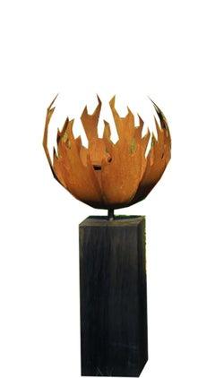 Firepit 'Flame' - Steel Firepit on Oak Shelf - Contemporary Sculpture
