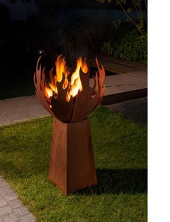"Outdoor Fire Pit - ""Flame"" - with angled pedestal - Medium Height"