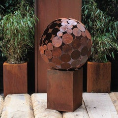 """Firepit """"Globe"""" With Square Pedestal - Small"""