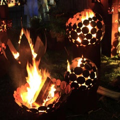 """Outdoor Fire Pit - """"Globe"""" with angled pedestal - Small Height"""