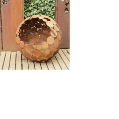 "Outdoor Fire Pit - ""Globe"" - iron oxide - Tall Height"