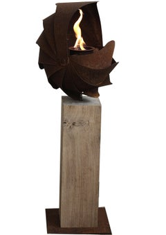 "Oak Column and Garden Torch - ""Ammon"" - Small - Handmade"