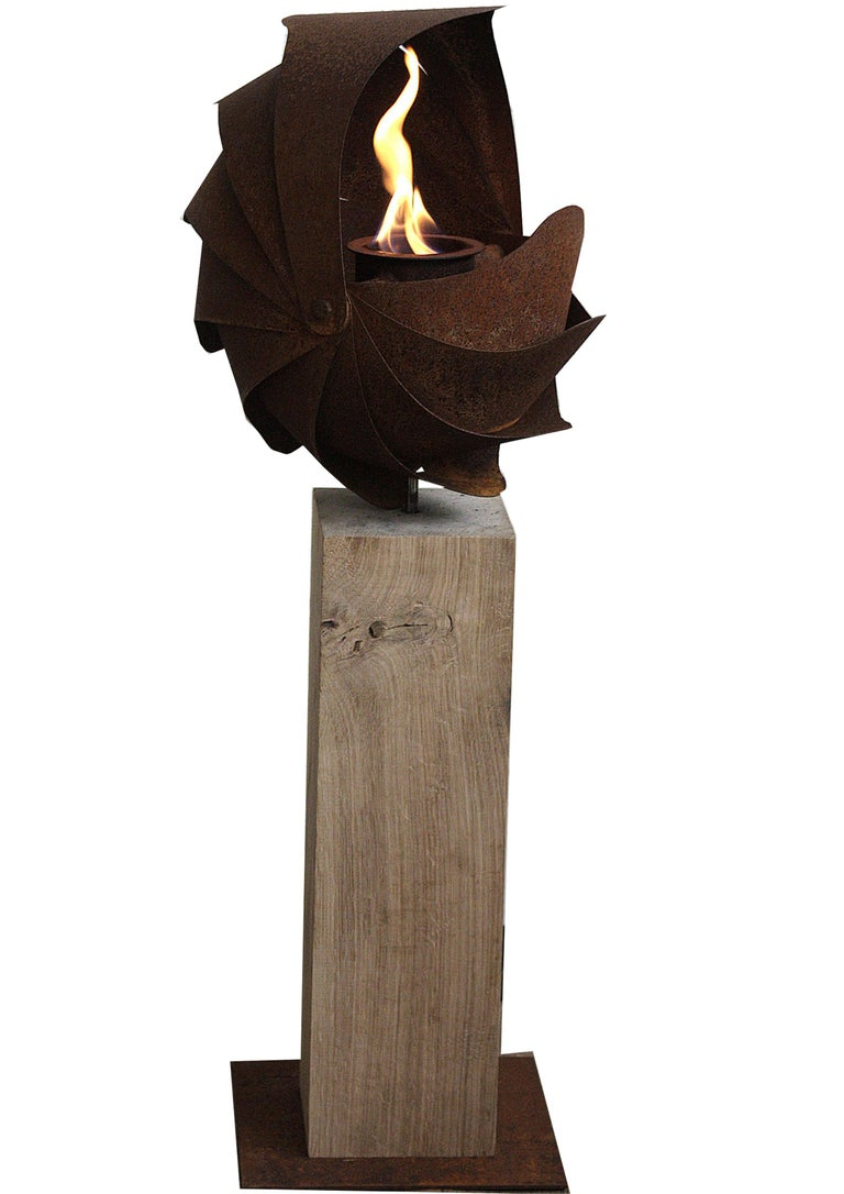 "Oak Column and Garden Torch - ""Ammon"" - Small - Handmade - Mixed Media Art by Stefan Traloc"