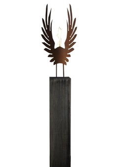 "Oak Column and Oxidated Garden Torch ""Wings"" - Handmade - unique art object"