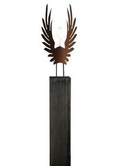 "Oak Column and Oxidated Garden Torch ""Wings"" - Handmade - unique art object"