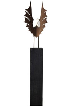 "Oxidated Oak Column and Garden Torch ""Wings""- Dark - Handmade Art Object"