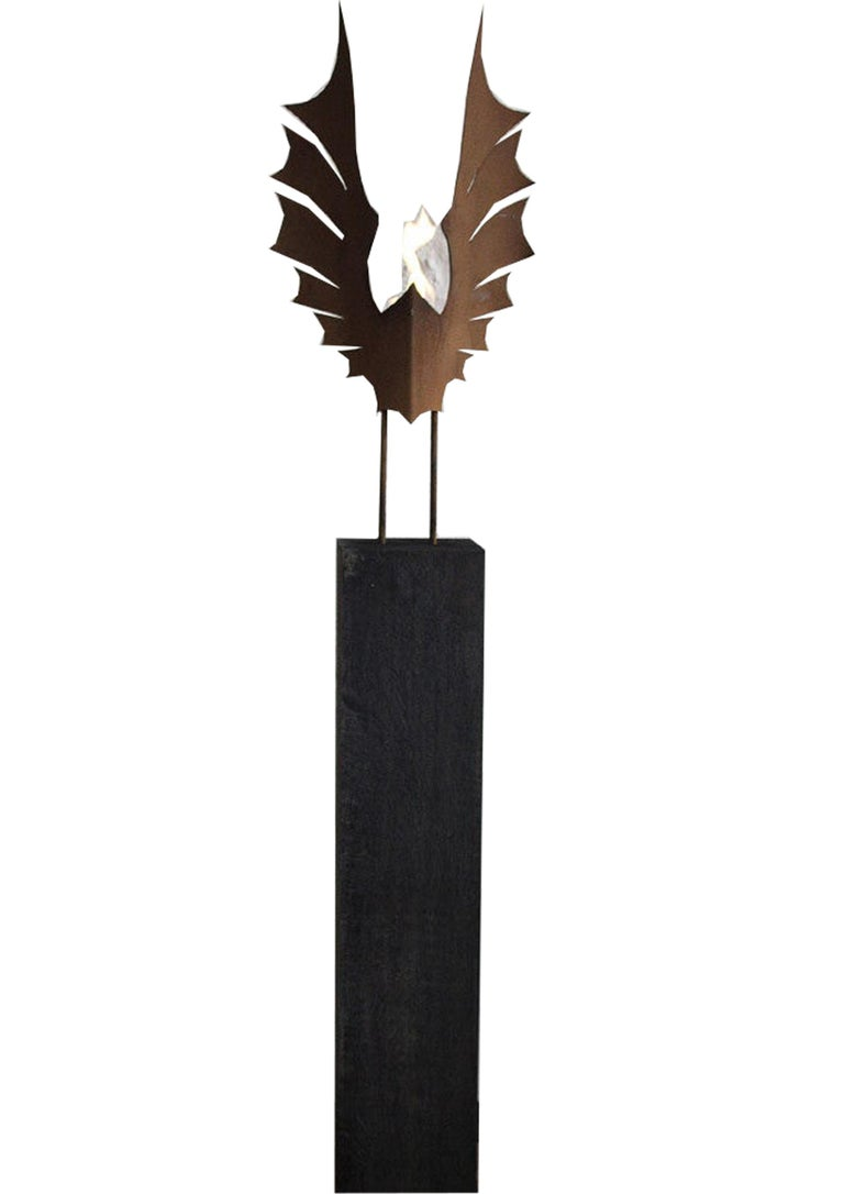 "Oxidated Oak Column and Garden Torch ""Wings""- Dark - Handmade Art Object - Sculpture by Stefan Traloc"