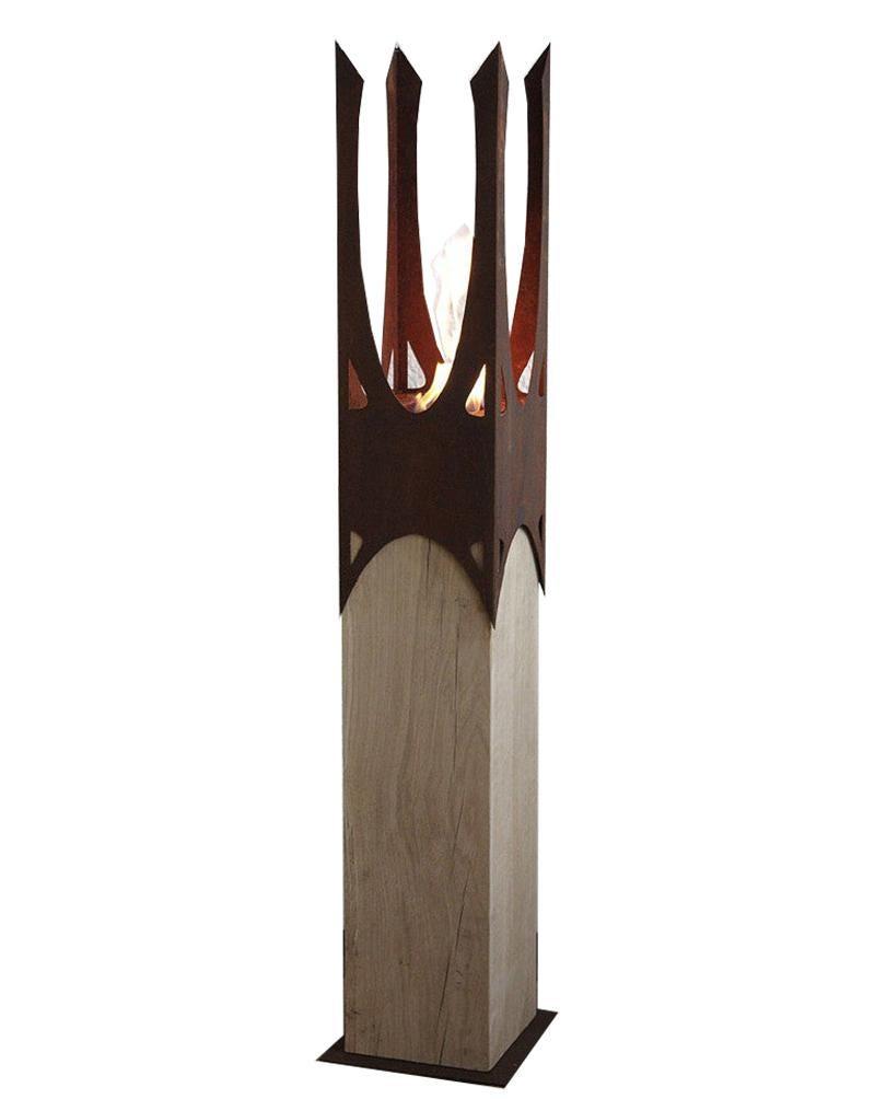 """Oak Column & Garden Torch """"Nature Crown"""" - Handmade Art Object"""