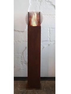 "Steel Column and Garden Torch ""Cube"" - Handmade - unique art object"