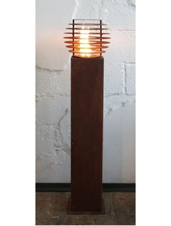 """Steel Column and Garden Torch """"Ball""""- Handmade - Garden Art Ornament"""