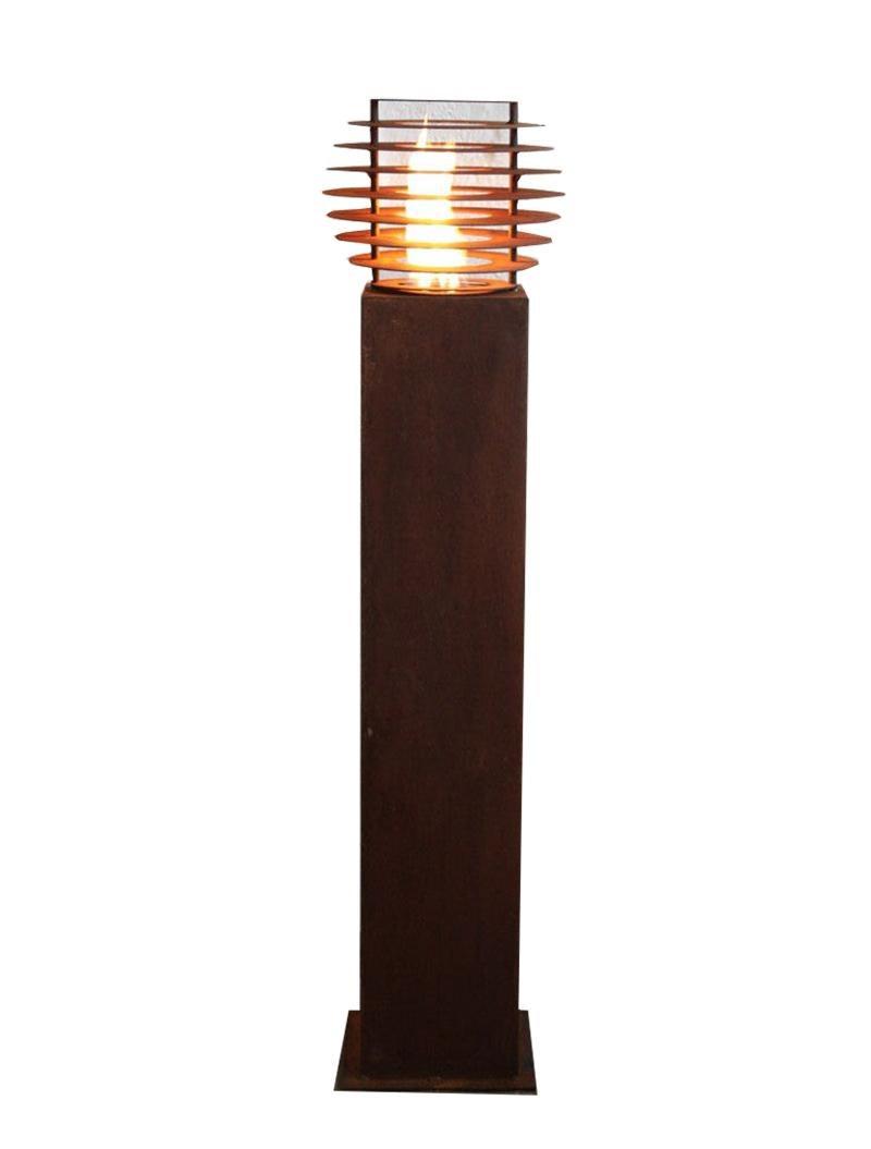 """Steel Column and Garden Torch - """"Ball""""- handmade garden art ornament"""
