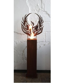"Steel Column and Garden Torch ""Phoenix"" - Handmade - Garden Ornament"