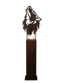 """Steel Column and Garden Torch - """"Wolf"""" - handmade unique art"""