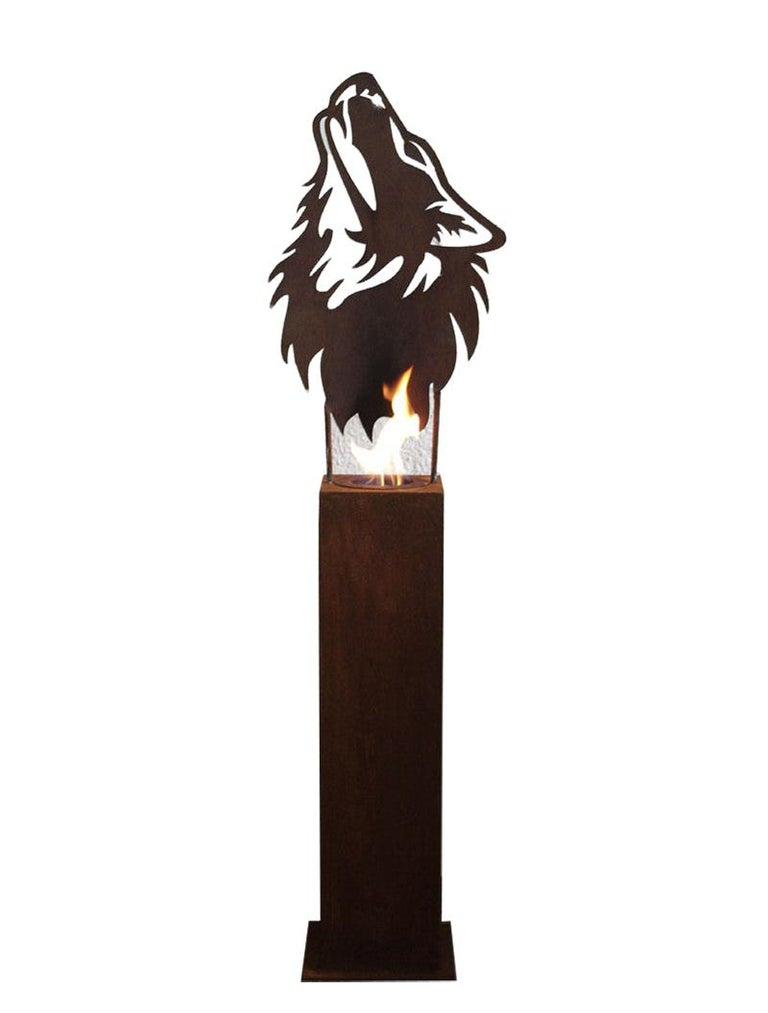 "Steel Column and Garden Torch - ""Wolf"" - handmade unique art - Sculpture by Stefan Traloc"