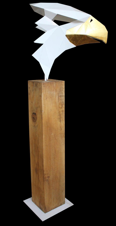24 Karat Gold Leaf - Golden Eagle - Oak Pedestal - Limited Edition For Sale 2