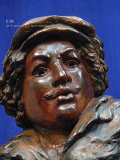 """Rembrandt in Bronze - """"Self-Portrait/Open-Mouth"""" - Unique Etching Sculpture"""