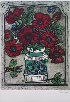 """Alfred Cohen - """"Vase with red flowers"""" - Color Lithography"""