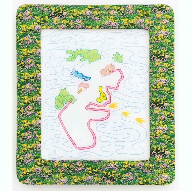 John Maloof Abstract Painting - Gooooooow, reverse acrylic on plexiglass with handmade upholster frame