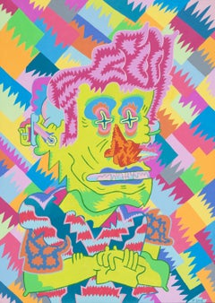 Mint Cool Lip, colorful cartoonish imagist portrait painting by Joe Tallarico