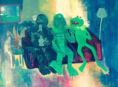 GREEN MONSTERS - Godzilla, Kermit, Creature from the Black Lagoon, painting