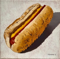 Hotdog painting, Solo Dog, realistic small square format